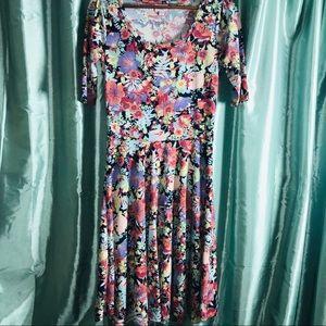 LuLaRoe Nicole Dress Sz Medium Floral Print